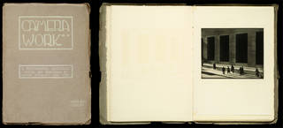 (Left to right:) 'Camera Work', photographic journal, published and edited by Alfred Stieglitz, issue 48, October 1916 (Set 1), front cover and internal spread. Museum no. RPS.1256-2018. © Victoria and Albert Museum, London