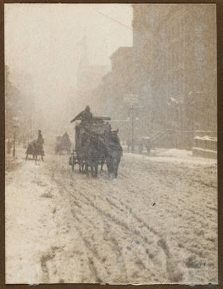'Street scene with snow, Fifth Avenue, New York', photograph by Alfred Stieglitz, 1893. Museum no. RPS.1290-2018. © Victoria and Albert Museum, London