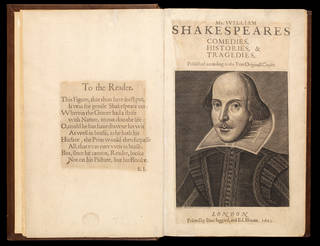 Book, Mr. William Shakespeares comedies, histories & tragedies: published according to the true original copies, edited by I. Heminge and H. Condell], printed by Isaac Iaggard and Edward Blount, 1623, London, England. Museum no. Dyce 8936. © Victoria and Albert Museum, London