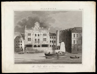 Print of The Duke's Theatre, Dorset Gardens, printed by R. Page, published for the Encyclopaedia Londinensis, 13 May 1825, London, England. Museum no. S.2351-2009. © Victoria and Albert Museum, London