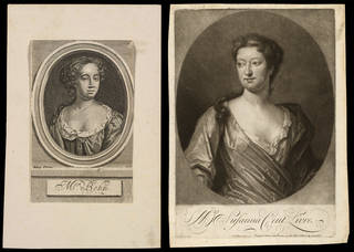 (Left to right:) Print depicting Aphra Behn, engraved by R. W. from a painting by Charles Reuben Riley, 19th century, Britain. Museum no. S.1391-2012. © Victoria and Albert Museum, London; Print depicting Mrs. Susanna Cent-Livre, engraved by P. Pelham. from a painting by D. Fermin, 1720, London, England. Museum no. S.1663-2009. © Victoria and Albert Museum, London