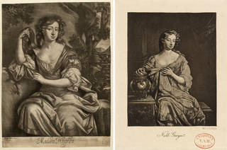 (Left to right:) Print depicting Madam Hughes (Margaret 'Peg' Hughes) from an original painting by P. Lelly in 1677, 18th century, Britain. Museum no. S.4416-2009. © Victoria and Albert Museum, London; Print depicting Nell Gwyn, printed by W. L. Colls, 19th century, Britain. Museum no. S.299-2015. © Victoria and Albert Museum, London