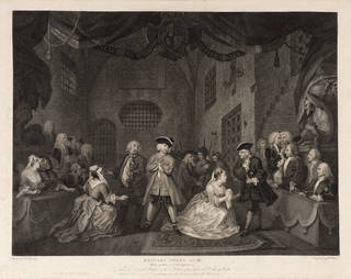 Print depicting scene from The Beggar's Opera, Act III, engraved by William Blake, after painting by William Hogarth, 1790, London, England. Museum no. S.44-2019. © Victoria and Albert Museum, London