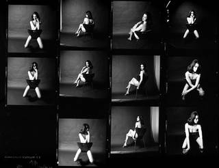 Contact sheet, Christine Keeler 1963, by Lewis Morley, England. Museum no.  E.2830-2016. Given by the American Friends of the V&A, through the generosity of Dr and Mrs John V. Knaus. © Victoria and Albert Museum, London/Lewis Morley