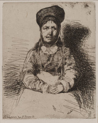 La Rétameuse, etching, James Abbott McNeill Whistler, 1858, France. Museum no. 19805. © Victoria and Albert Museum, London