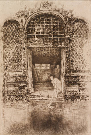 The Doorway, etching, James Abbott McNeill Whistler, 1879 – 90, Italy. Museum no. CIRC.168-1965. © Victoria and Albert Museum, London
