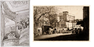 Left to right: The Old Bedford, etching, Walter Sickert, 1915 – 16, England. Museum no. E.2562-1948. © Victoria and Albert Museum, London; Market Place, Cairo, etching, Mortimer Menpes, about 1912, Egypt. Museum no. E.2487-1913. © Victoria and Albert Museum, London