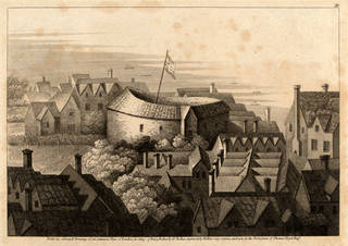 Print depicting the Globe Theatre, from an original painting engraved by Hollar Wenceslaus, 1647, London, England. Museum no. S.261-1978. © Victoria and Albert Museum, London