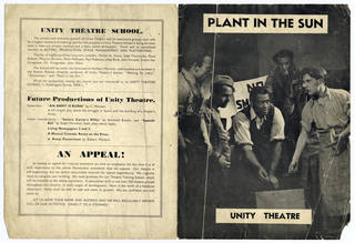 Printed programme, 'Plant in the Sun', Unity Theatre, about 1930 – 40, Cambridge Theatre. © Victoria and Albert Museum, London