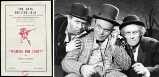 (Left to right) Programme for the British premiere of Samuel Becket`s 'Waiting for Godot', directed by Peter Hall, 3rd August 1955, The Arts Theatre Club, London. © Victoria and Albert Museum, London; Photograph of original cast of 'Waiting for Godot', 1955, The Arts Theatre Club, London. © Victoria and Albert Museum, London