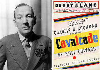 (Left to right) Photograph of Noël Coward, maker unknown, early 1930s, London. © Victoria and Albert Museum, London; Printed flyer for Noël Coward's production of 'Cavalcade', 1932, Drury Lane Theatre, London. © Victoria and Albert Museum, London