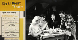 (Left to right) Programme poster advertising the opening repertory season of The English Stage Company at the Royal Court Theatre, London, April to June 1956, including the world premiere of John Osborne's 'Look Back in Anger'. Museum no.  S.876-1997. © Victoria and Albert Museum, London; Photograph of scene from performance of 'Look Back in Anger', 1956, Royal Court Theatre, London. © Victoria and Albert Museum, London