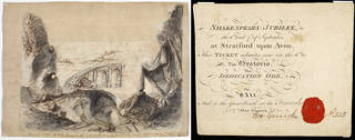 (Left to right) Set design for Act V Scene 2 of Shakespeare's play Richard III, Philip James de Loutherbourg, possibly for the Theatre Royal, Drury Lane, London, 30 May 1772. Museum no. S.1471-1986. © Victoria and Albert Museum, London; Entry ticket to 'The Oratorio, The Dedication Ode, The Ball, and to the Great Booth at the Fireworks' during the Shakespeare's Jubilee celebrations at Stratford-upon-Avon, 6 & 7 September 1769. Museum no. S.1055-2010. © Victoria and Albert Museum, London