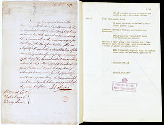 (Left to right) Theatrical licence handwritten by Lord Salisbury, Lord Chamberlain, for the production of The Hue & Cry, Theatre Royal, Drury Lane, London, May 11 1791. © Victoria and Albert Museum, London; Deleted page of script by the Lord Chamberlain's Office, P.27, Act I of the play Billy Liar by Keith Waterhouse and Willis Hall, 1950s, London. © Victoria and Albert Museum, London
