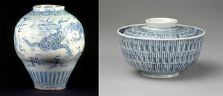 Left to right: Jar, unknown maker, 1750 – 1850, Korea. Museum no. C.83-1927. © Victoria and Albert Museum, London; Bowl with lid, unknown maker, 1615 – 1868, Arita, Japan. Museum no. FE.134:1, 2-2006. © Victoria and Albert Museum, London