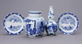 Plates, ginger jar and vase owned by Whistler and Rossetti, porcelain painted in undergalze blue, maker unknown, 1662 – 1772, Qing dynasty China. Museum nos. C.770-1910, C.836&A-1910, C.935-1910, C.769-1910. © Victoria and Albert Museum, London