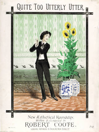 Quite too Utterly Utter, songsheet cover depicting the figure of the Aesthete adoring his blue-and-white porcelain, Alfred Concanen, 1881. Museum no. S.34-1993. © Victoria and Albert Museum, London