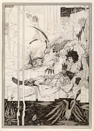Drawing, 'How King Arthur saw the Questing Beast', by Aubrey Beardsley, for the frontispiece to Volume I of 'Le Morte Darthur' by Thomas Malory, 1893, London, England. Museum no. E.289-1972. © Victoria and Albert Museum, London