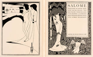 Print, 'The Woman in the Moon', plate I and title page from 'A Portfolio of Aubrey Beardsley's drawings illustrating 'Salome' by Oscar Wilde', 1894, published by John Lane, London, 1907. Museum no. C.221146:1. © Victoria and Albert Museum, London