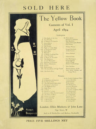 Promotional card for 'The Yellow Book', design by Aubrey Beardsley, published by Elkin Mathews and John Lane, London, 1894. Museum no. E.1377-1931. © Victoria and Albert Museum, London
