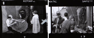 (Left to right:) Details from contact sheet, photography by John Hinde, about 1943, Britain. Museum nos. RPS.1191 & 1187-2019. © Victoria and Albert Museum, London
