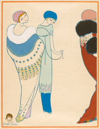 Fashion plate by Georges Lepape depicting designs by Paul Poiret, 1911, France. Museum no. CIRC.263-1976. © Victoria and Albert Museum, London