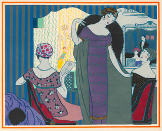 Trois robes neuves, fashion plate by Georges Lepape depicting designs by Paul Poiret, 1913, France. Museum no.  CIRC.270-1976. © Victoria and Albert Museum, London