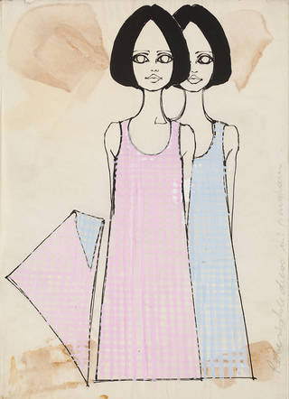Sketch for reversible gingham dress, 1960s – 70s, Biba archive. © Victoria and Albert Museum, London