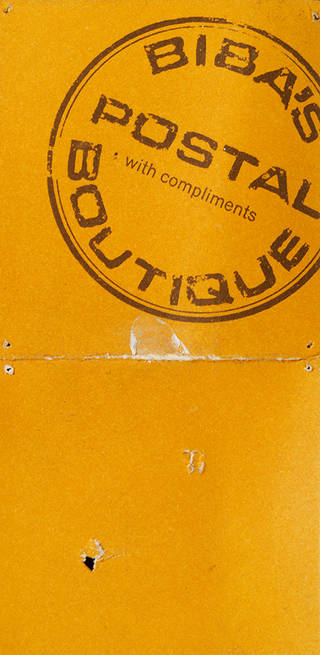 'With compliments' label from Biba's Postal Boutique, 1960s, Biba archive. © Victoria and Albert Museum, London