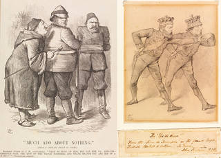 Left to right: Much Ado About Nothing, wood engraving from an illustration by John Tenniel, published by Punch magazine, 1882, England. Museum no. SD.1029:1. © Victoria and Albert Museum, London; The Pas De Deux!, sketch for a political cartoon in Punch magazine, by Sir John Tenniel, 1878, England. Museum no. SD.1023. © Victoria and Albert Museum, London