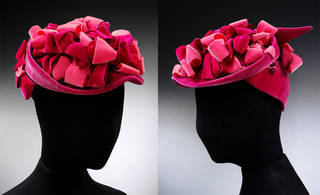 Pink velvet cap, designed by Aage Thaarup, 1950 – 59, England. Museum no. T.255-1985. © Victoria and Albert Museum, London