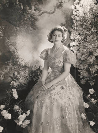 Princess Elizabeth at Buckingham Palace wearing a dress by Norman Hartnell, photograph by Cecil Beaton, 1945, England. Museum no. E.1361-2010. © Victoria and Albert Museum, London