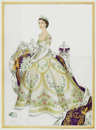 Design for the dress worn by Her Majesty Queen Elizabeth II at her Coronation, by Norman Hartnell, 1953, England. © Victoria and Albert Museum, London
