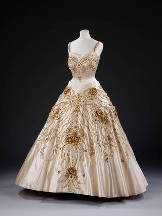 The Flowers of the Fields of France, evening dress worn by Queen Elizabeth II on a state visit to Paris, by Norman Hartnell, 1957, England. Museum no.  T.264-1974. © Victoria and Albert Museum, London