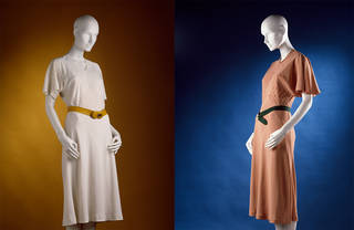 Left to right: Afternoon dress, Madeleine Vionnet, mid-1930s, France. Museum no. T.199 to B-1973. © Victoria and Albert Museum, London. Afternoon dress, Madeleine Vionnet, mid-1930s, France. Museum no. T.196 to B-1973. © Victoria and Albert Museum, London