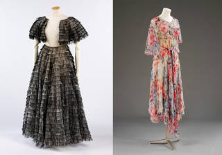 Left to right: Evening dress worn by Lady Foley, Madeleine Vionnet, 1935, France. Museum no. T.378:1, 2-2009. © Victoria and Albert Museum, London; Dress worn by Lady Foley, Madeleine Vionnet, 1931, France. Museum no. T.381-2009. © Victoria and Albert Museum, London