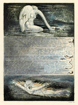 Colour relief etching, partially hand-coloured, by William Blake, plate 11 from the 'Jerusalem' series of prints created to accompany the poem of the same name, about 1804 – 20, Britain. Museum no. E.668-1899. © Victoria and Albert Museum, London