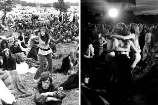(Left and right:) Glastonbury, 1970s. © Brian Walker