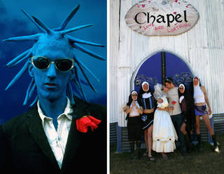 (Left to right:) Blue Man, early 1990s. According to the photographer, the man had used household emulsion paint. © Ann Cook; Festival-goers in fancy dress at the Chapel of Love and Loathing (part of the Lost Vagueness field). © Ann Cook