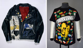 (Left to right:) Punk leather customised jacket, unknown maker, 1977, Britain. Museum no. T.424-1993. © Victoria and Albert Museum, London; T-shirt, cotton printed with design of African flags, unknown maker, 1970s, Britain. Museum no. T.75-1994. © Victoria and Albert Museum, London