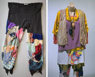 (Left and right:) Cotton jersey patched leggings, part of a New Age Traveller costume, assembled and worn by Fraggle, a member of the Dongas tribe, 1989 – 93, Britain. Museum no. T.486-1994. © Victoria and Albert Museum, London