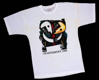 Printed cotton T-shirt, Glastonbury 1990, unknown maker, 1990, Britain. Museum no. T.606-1997. © Victoria and Albert Museum, London