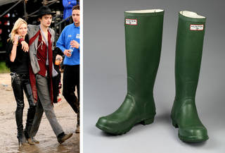 (Left to right:) Kate Moss (in less practical footwear) and Pete Doherty at Glastonbury Festival, 2007. Copyright Jason Bryant; Pair of wellington boots, 'Hunter Green', made by Gates Rubber Company, 1989, Scotland. Museum no. T.361&A-1989. © Victoria and Albert Museum, London