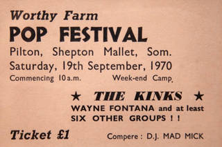 Ticket for the first festival, 1970. © Glastonbury Festival