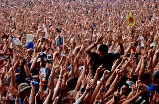 Glastonbury crowd.