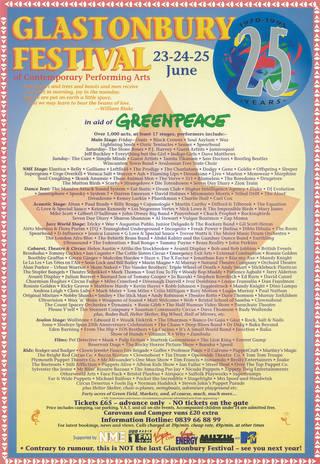 Glastonbury Festival poster, 1995.