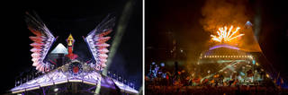 (Left to right:) Phoenix on top of the Pyramid Stage. © Rosanna Westwood; Phoenix with flames. © Glastonbury Festival