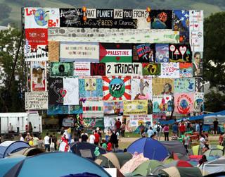 Banners at Glastonbury Festival, 2014.