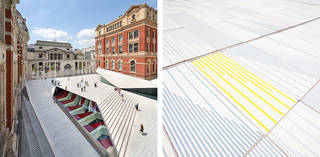 Left to right: The Sackler Courtyard, V&A Exhibition Road Quarter, designed by AL_A. © Hufton Crow; Porcelain tiles in The Sackler Courtyard. © Victoria and Albert Museum, London