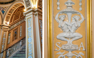 The Ceramic Staircase, details showing ceramic reliefs, V&A. Photograph by Marcus Ginns, 2017
